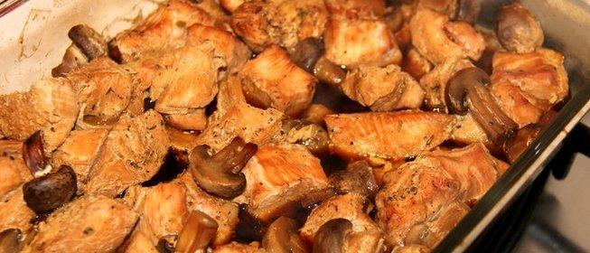 Индейка с грибами с сыром в духовке рецепт