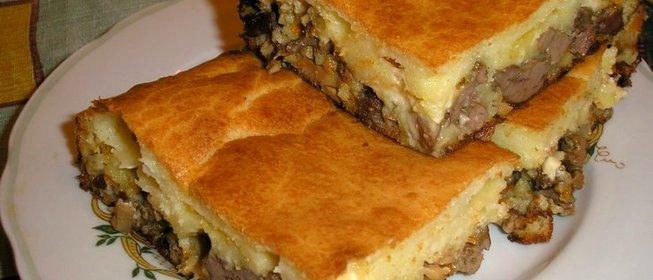 Заливной пирог с мясным фаршем рецепт с