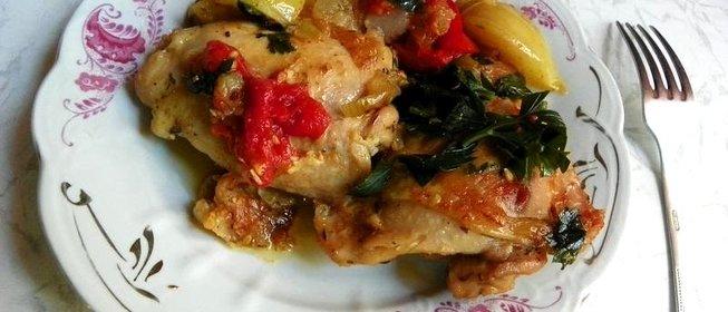 Рецепт из окорочка и помидора