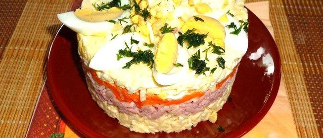 Слоеные салаты простые с