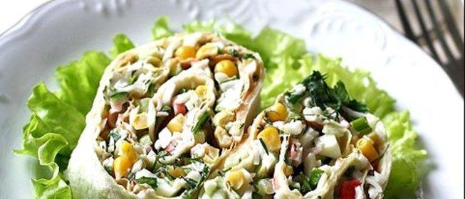Крабовый салат в лаваше рецепт с пошагово в