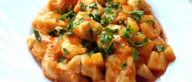 Куриная грудка с ананасом с пошаговый рецепт с