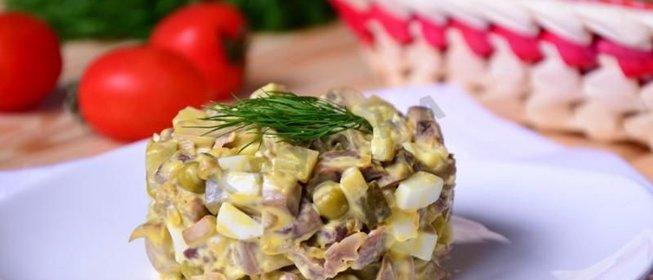 Салат с куриными желудками и грибами рецепт с в