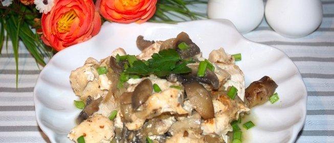 Индейка с грибами в духовкеы