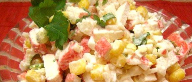 Салат из кукурузы и крабовых палочек с рисом рецепт с очень вкусный с
