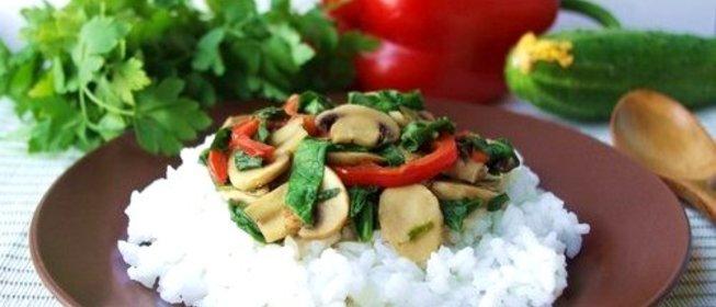 Пошаговый Рецепт риса сгрибами, шпинатом исладким перцем с фото