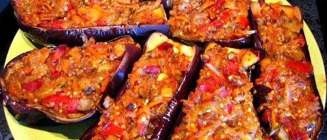 Баклажаны с рисом в духовке пошаговый рецепт с