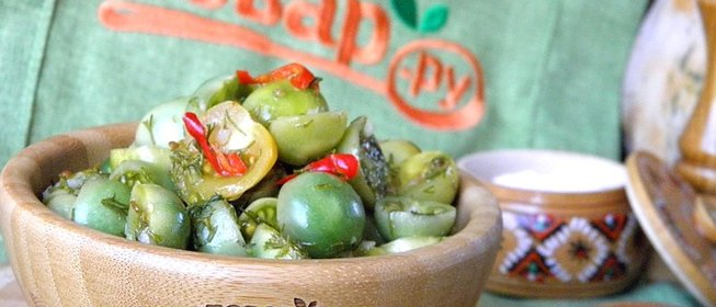 Зелные помидоры быстрого приготовления без закатки