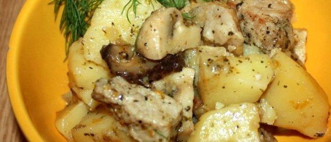 Рецепт мясо с грибами и картошкой в горшочке
