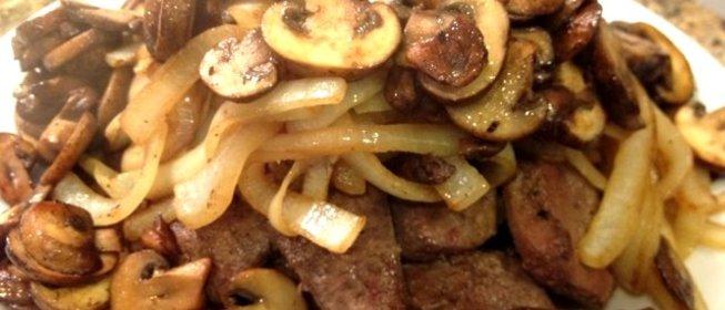 Пошаговый рецепт печень с грибами