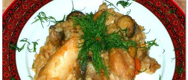 Плов с грибами и курицей рецепт