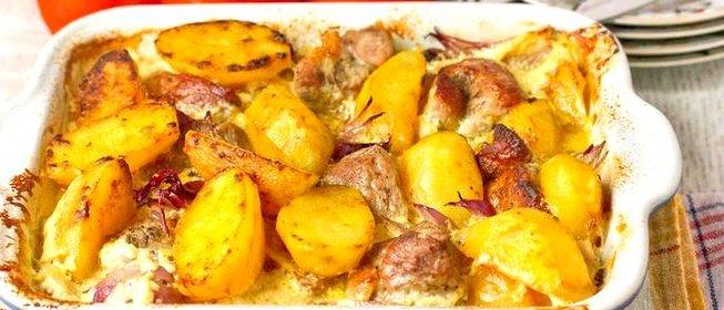 рецепт свинины с грибами в духовке с картошкой