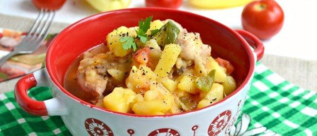 тушеный картофель с курицей рецепт с фото