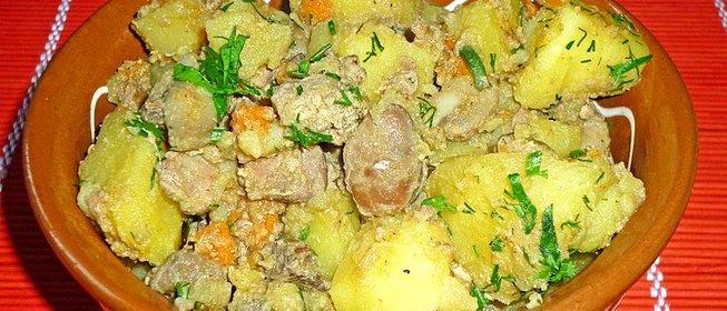 Куриная печень с картошкой рецепт пошаговый с фото