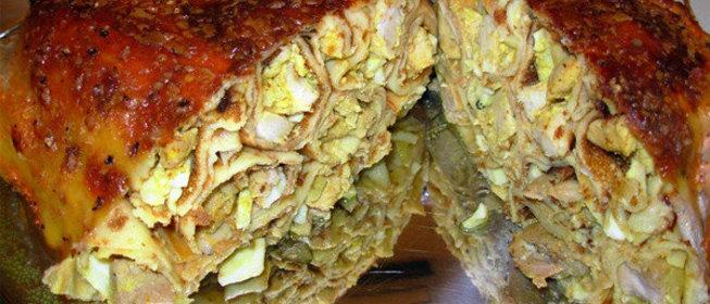 Курица в духовке целиком фаршированная картошкой рецепт