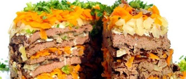 Пошаговый Рецепт печеночного торта с морковью с фото