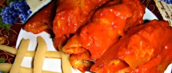 Каннеллони с фаршем рецепт пошагово под томатным